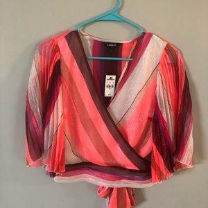Express kimono sleeve surplise wrap blouse